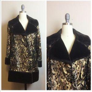 Vintage 1960s Faux Fur Leopard Print Mod Coat